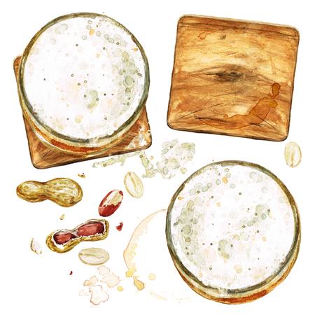 Beer glasses . Watercolor Illustration.