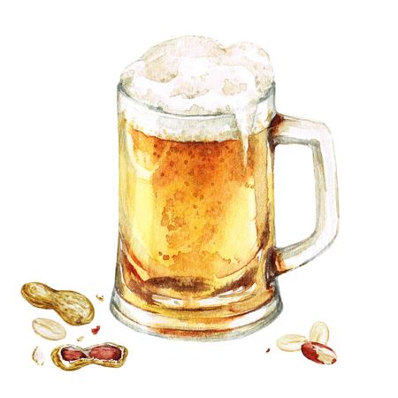 ビールのジョッキ。水彩イラスト。