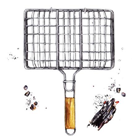 Grilling basket. Watercolor Illustration.
