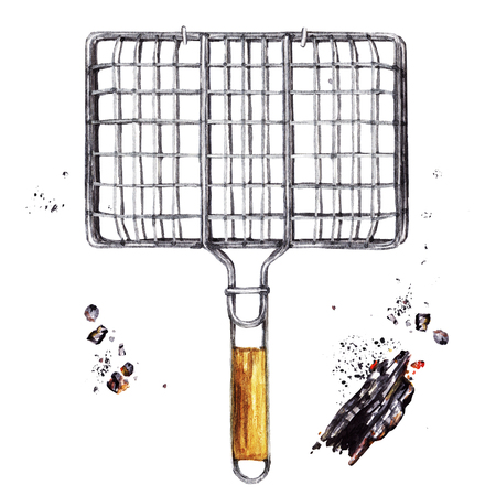 Grilling basket. Watercolor Illustration.