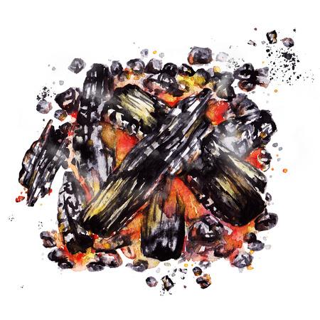 バーベキューの火ピット。水彩イラスト。