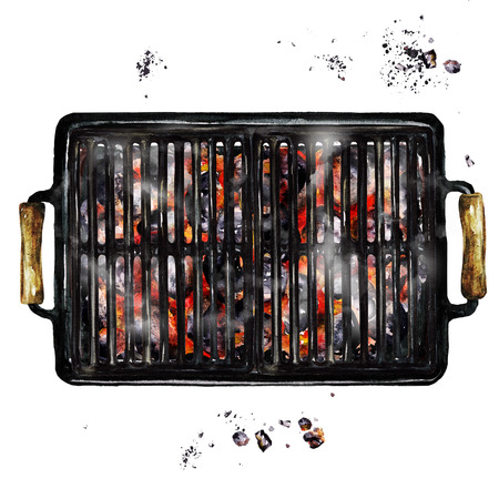 Charcoal Grill. Watercolor Illustration. Stock Photo