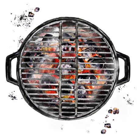 Charcoal Grill. Watercolor Illustration. Imagens