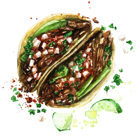 Tacos. Watercolor Illustration.