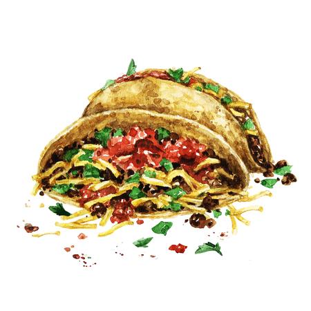 Tacos. Waterverf Illustratie. Stockfoto