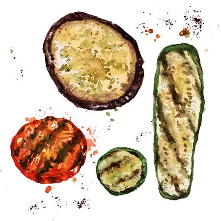 Gegrilde gesneden groenten. Waterverf Illustratie.