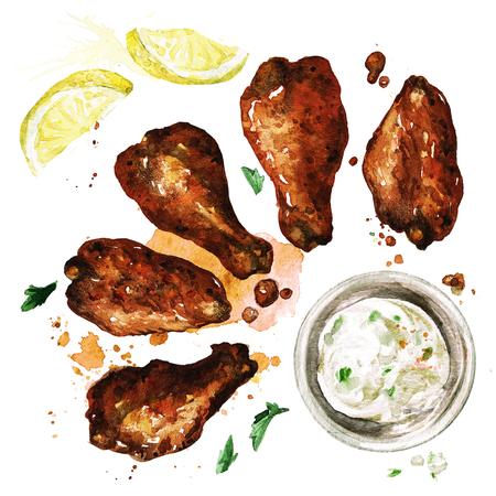 Ailes de poulet et trempette. Illustration d'aquarelle. Banque d'images - 82811770