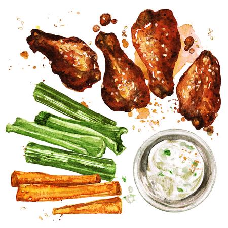 닭 날개와 딥. 수채화 그림입니다.