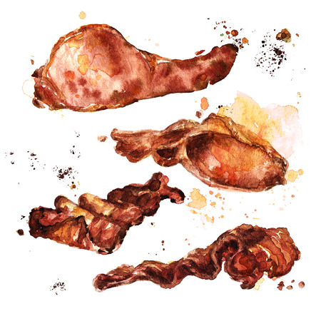 Fried bacon. Watercolor Illustration.