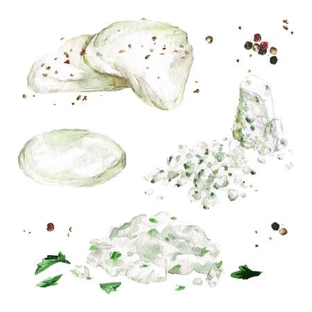 Romige kaassoorten. Aquarel illustratie.