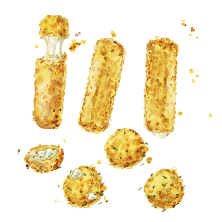 Cheese snacks. Watercolor Illustration. Stock Photo