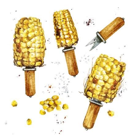 Gebakken maïs. Waterverf Illustratie.