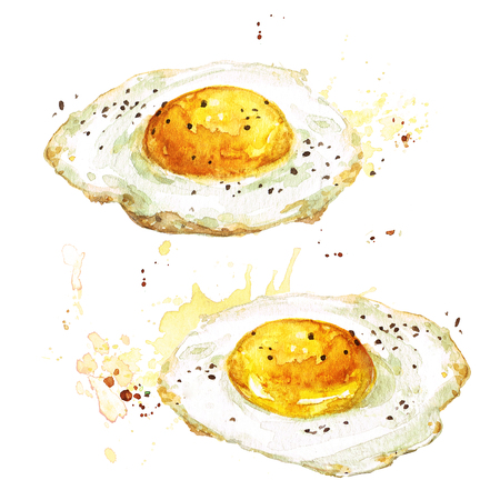 Fried eggs. Watercolor Illustration. Фото со стока - 82961757