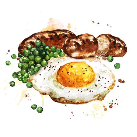 sunny side up: Breakfast.  Watercolor Illustration.