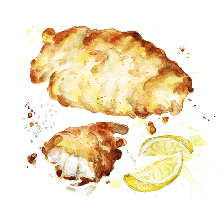Deep fried fish. Watercolor Illustration.