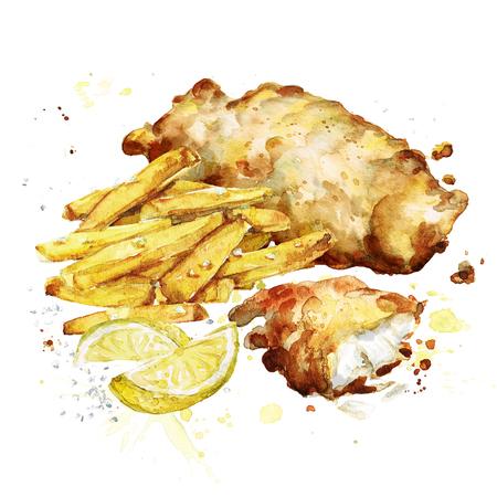 Fisch und Pommes. Aquarell-Illustration. Standard-Bild - 82961761
