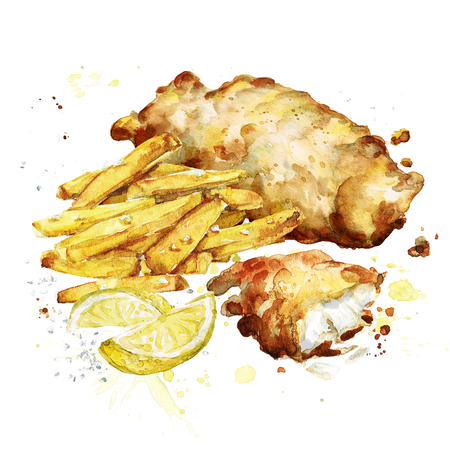 Fish and chips. Watercolor Illustration.