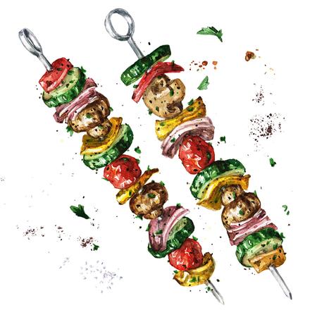 Vegetarian kebab. Watercolor Illustration. Imagens - 82961772