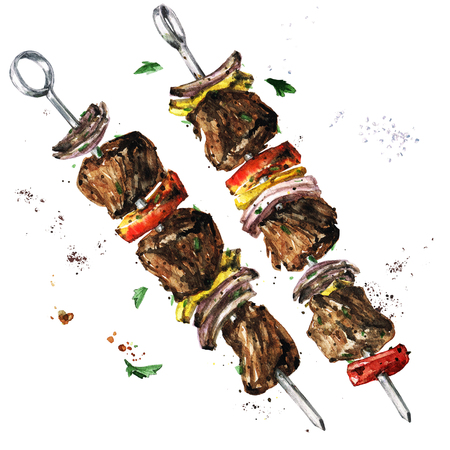 Vlees kebab. Aquarel illustratie. Stockfoto
