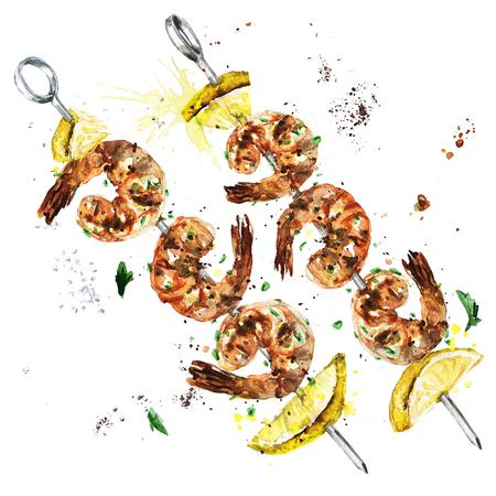 새우 케밥. 수채화 그림입니다. 스톡 콘텐츠