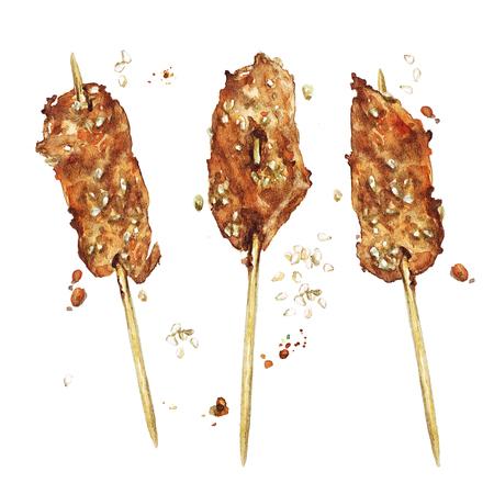 Chicken mini kebabs. Watercolor Illustration. Stock Photo