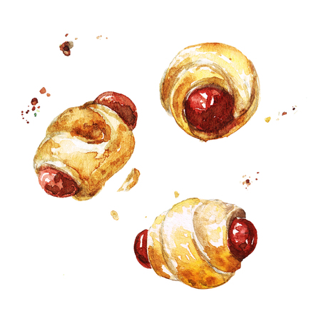 Sausage in dough. Watercolor Illustration. Imagens - 83629274
