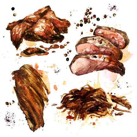 Variety of cooked meat. Watercolor Illustration. Фото со стока