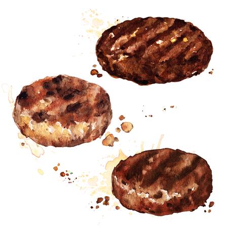 ハンバーガー用ビーフパティです。水彩イラスト。