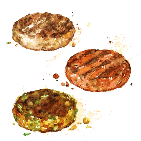Burger patties. Watercolor Illustration. Stock Photo