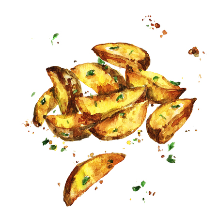 Aardappelpartjes. Aquarel illustratie. Stockfoto - 82961768
