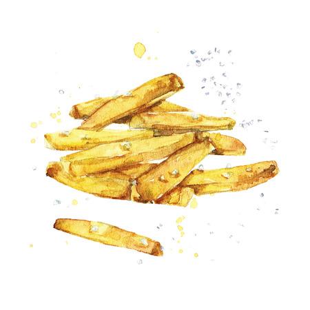 Franse frietjes. Waterverf Illustratie.