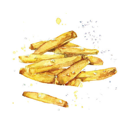 French fries. Watercolor Illustration. Stock Photo