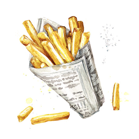 cook out: French fries. Watercolor Illustration. Stock Photo