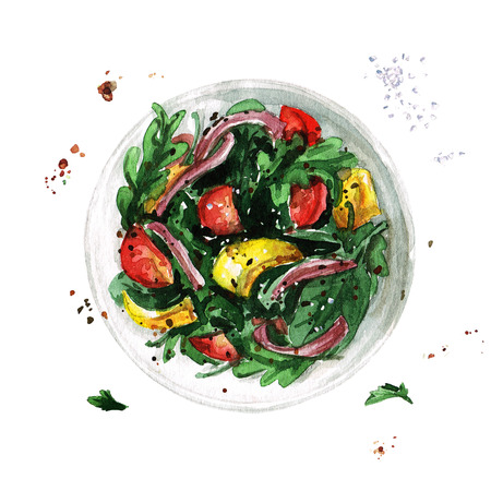 Salad bowl. Watercolor Illustration. 스톡 콘텐츠