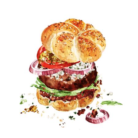 アンガスのハンバーガー。水彩イラスト。