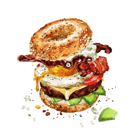 朝食バーガー。水彩イラスト。