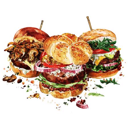 Angus, Schweizer und klassische Burger. Aquarell-Illustration. Standard-Bild - 83361109