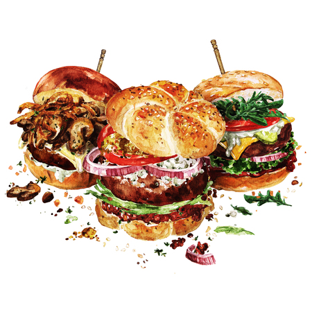 Angus, Zwitserse en klassieke hamburgers. Aquarel illustratie.