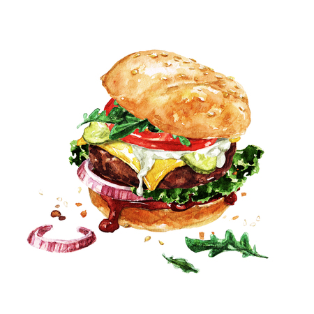 Traditional hamburger. Watercolor Illustration. Stock Photo