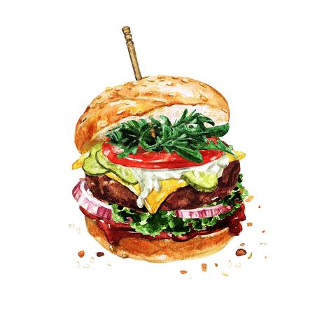 Traditional hamburger. Watercolor Illustration. Stok Fotoğraf