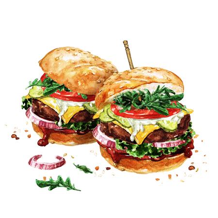 Traditionele hamburgers. Aquarel illustratie. Stockfoto