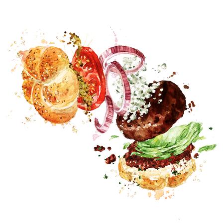 Angus burger. Aquarel illustratie. Stockfoto