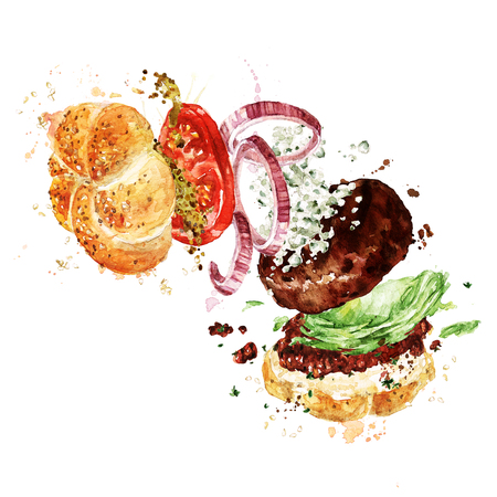 Angus burger. Watercolor Illustration. Stock Photo