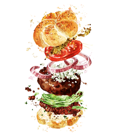 Angus burger. Watercolor Illustration. Stock Photo
