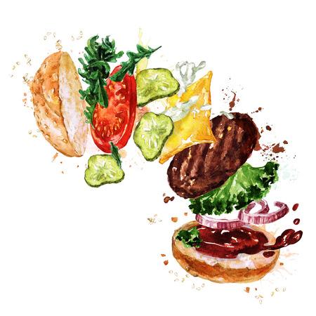 Traditional hamburger. Watercolor Illustration. Stock Photo