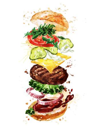 Hamburguesa tradicional. Ilustración De Acuarela. Foto de archivo - 83361107
