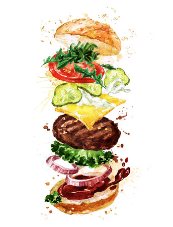cook out: Traditional hamburger. Watercolor Illustration. Stock Photo