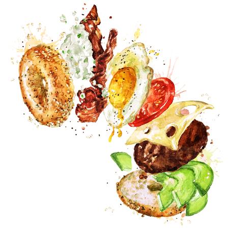 Hamburguesa de desayuno. Ilustración De Acuarela. Foto de archivo - 83343727