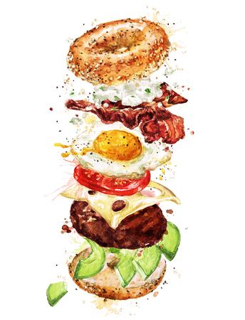 Ontbijtburger. Waterverf Illustratie. Stockfoto - 83343730