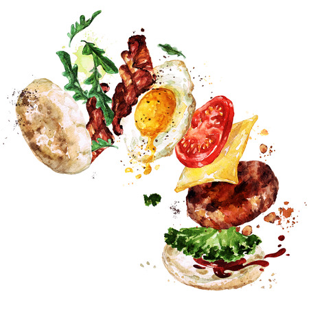 english food: Breakfast burger. Watercolor Illustration.